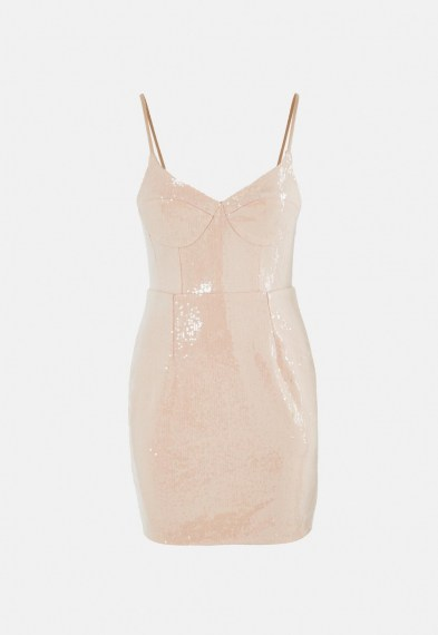 Missguided nude sequin bust cup cami mini dress ~ luxe look bodycon ~ evening glamour
