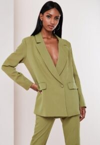 MISSGUIDED olive co ord wrap front oversized blazer