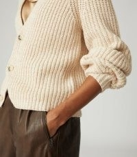 Reiss OLIVIA COTTON-BLEND SHORT CARDIGAN NEUTRAL | neutral ribbed cardigans