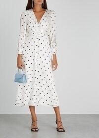 OLIVIA RUBIN Valentina white polka-dot satin midi dress