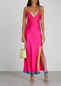 OLIVIA RUBIN Veronica hot pink silk midi dress ~ bright side split slip dresses