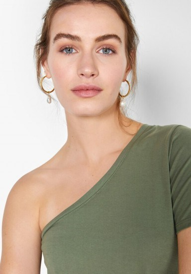 hush One-Shoulder T-Shirt Khaki Green / essential summer style - flipped