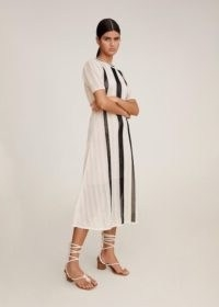 MANGO Open-work bicolour dress | neutral knitted dresses