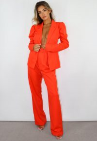 missguided orange co ord belted cigarette trousers – bright co-ords