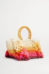CAROLINA SANTO DOMINGO Corallina fringed raffia tote – small fringe-detail handbags – summer bags