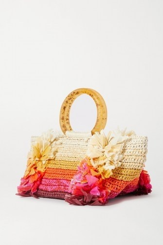 CAROLINA SANTO DOMINGO Corallina fringed raffia tote – small fringe-detail handbags – summer bags - flipped
