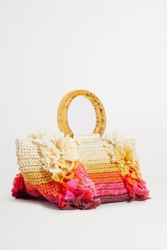 CAROLINA SANTO DOMINGO Corallina fringed raffia tote – small fringe-detail handbags – summer bags