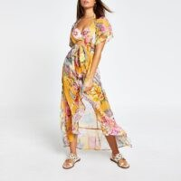 RIVER ISLAND Orange floral embellished maxi beach kaftan / floaty summer kaftans / beachwear / pool side cover-up