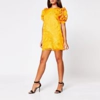 River Island Orange organza puff sleeve mini dress