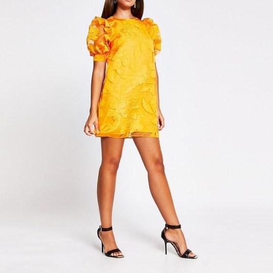 River Island Orange organza puff sleeve mini dress - flipped