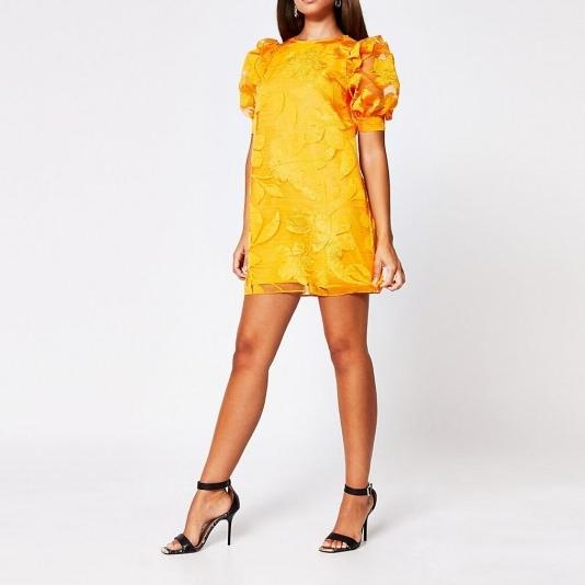 River Island Orange organza puff sleeve mini dress
