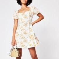 River Island Orange short sleeve printed broderie dress | puff sleeved dresses