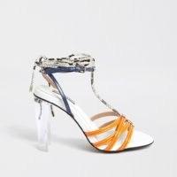 RIVER ISLAND Orange strappy perspex heel sandal / transparent heels