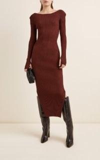 Toteme Orville Rib-Knit Midi Dress ~ contemporary ribbed dresses
