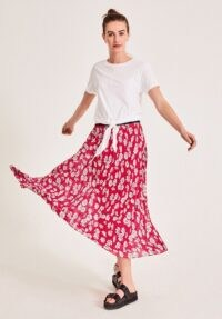 Hush Ossie Pleated Midi Skirt Cosmos Floral Red