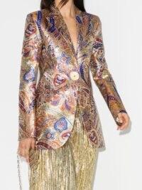 Paco Rabanne metallic paisley-print blazer jacket / shiny event jackets