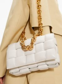 Chunky chain shoulder bag | BOTTEGA VENETA Padded Cassette Intrecciato white-leather bag | woven bags