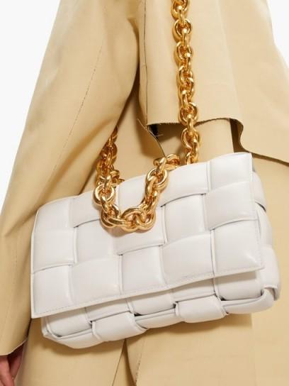 Chunky chain shoulder bag | BOTTEGA VENETA Padded Cassette Intrecciato white-leather bag | woven bags