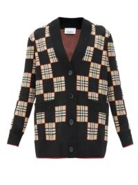 BURBERRY Paislee Vintage-check wool-blend cardigan ~ black checkered cardigans