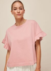 WHISTLES COTTON FRILL TSHIRT Pale Pink / casual essentials / feminine T-shirts