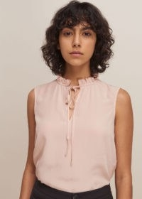 WHISTLES SELENA SILK TOP ~ pale-pink frill neck tops