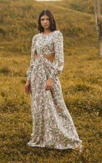 Agua by Agua Bendita Parana Herbal Cutout Printed Linen Maxi Dress ~ vacation cut out dresses