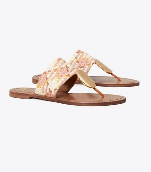 TORY BURCH PATOS DISK SANDAL NEUTRAL WOVEN - flipped