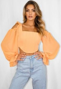 Missguided peach chiffon cold shoulder corset crop top | fitted bodice tops with balloon sleeves