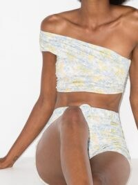 Peony one-shoulder floral-print bikini top ~ asymmetrical necklines ~ bikinis