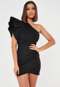 Missguided petite black scuba frill one shoulder mini dress ~ lbd ~ evening glamour ~ glamorous bodycon dresses