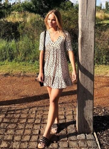 MISS SELFRIDGE PETITE Ivory Polka Print Jersey Smock Dress / frill hem dresses - flipped