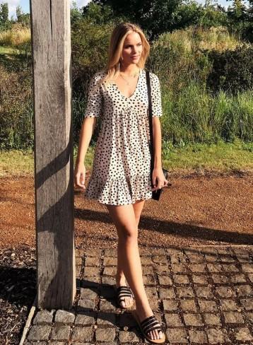 MISS SELFRIDGE PETITE Ivory Polka Print Jersey Smock Dress / frill hem dresses