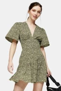 TOPSHOP PETITE Lime Green Angel Sleeve Mini Dress ~ animal print dresses