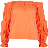 RIVER ISLAND Petite orange ruched long sleeve bardot top / bright off the shoulder tops