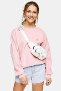 Topshop PETITE Pink Pizza Sweatshirt ~ motif sweat top