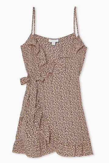 TOPSHOP Pink Animal Ruffle Mini Slip Dress - flipped