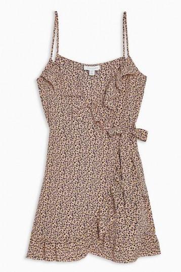 TOPSHOP Pink Animal Ruffle Mini Slip Dress