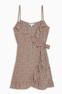 TOPSHOP Pink Animal Ruffle Mini Slip Dress / strappy frill trimmed dresses