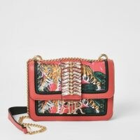 RIVER ISLAND Pink embellished cross body satchel bag / printed crossbody bags