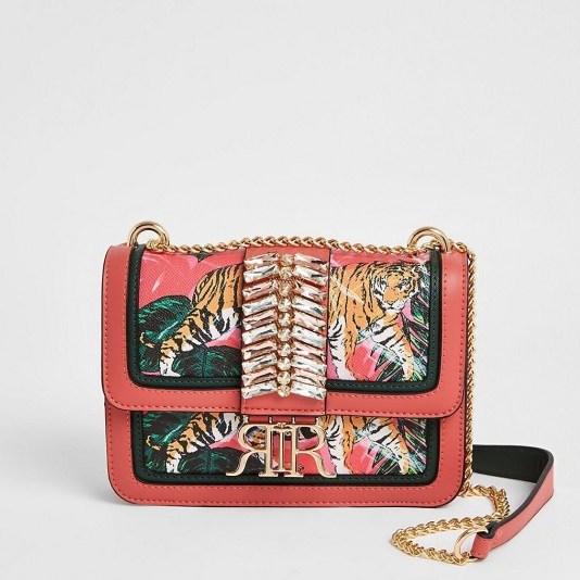 RIVER ISLAND Pink embellished cross body satchel bag / printed crossbody bags - flipped