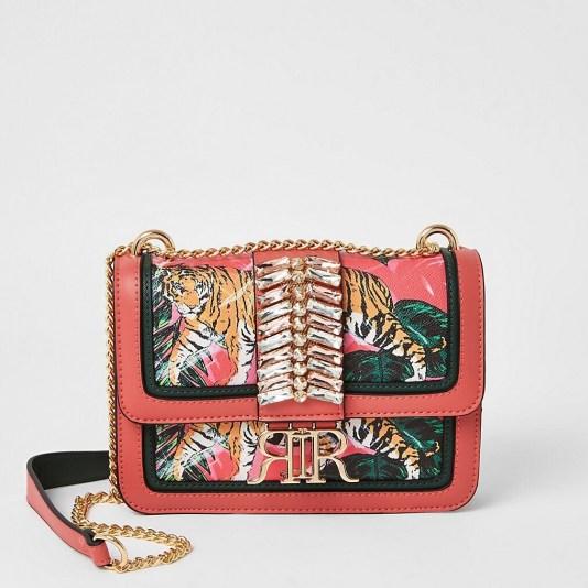 RIVER ISLAND Pink embellished cross body satchel bag / printed crossbody bags