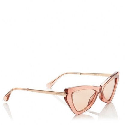 JIMMY CHOO Donna Pink Flash and Silver Cat Eye Sunglasses with Pink Glitter - flipped