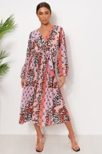 THE FASHION BIBLE PINK FLORAL LEOPARD PRINT MIDI DRESS / mixt prints
