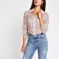 RIVER ISLAND Pink floral organza long sleeve shirt / feminine semi sheer shirts