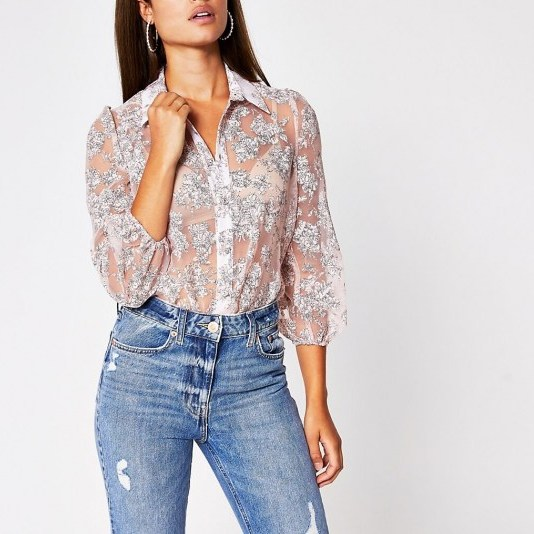 RIVER ISLAND Pink floral organza long sleeve shirt / feminine semi sheer shirts - flipped