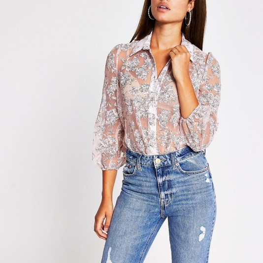 RIVER ISLAND Pink floral organza long sleeve shirt / feminine semi sheer shirts