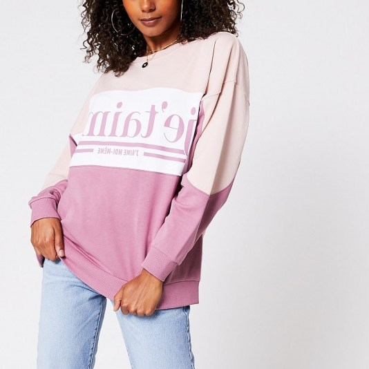 RIVER ISLAND Pink medium j'etaime print colour block sweat / slogan sweatshirt - flipped