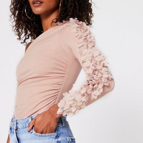 RIVER ISLAND Pink one shoulder petal detail body / feminine asymmetric bodysuits - flipped