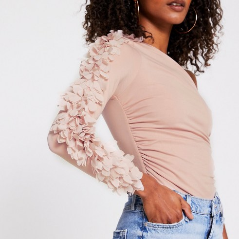 RIVER ISLAND Pink one shoulder petal detail body / feminine asymmetric bodysuits