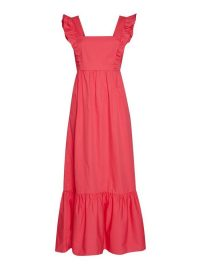 MISS SELFRIDGE Pink Poplin Bow Back Midi Dress ~ frill trim dresses